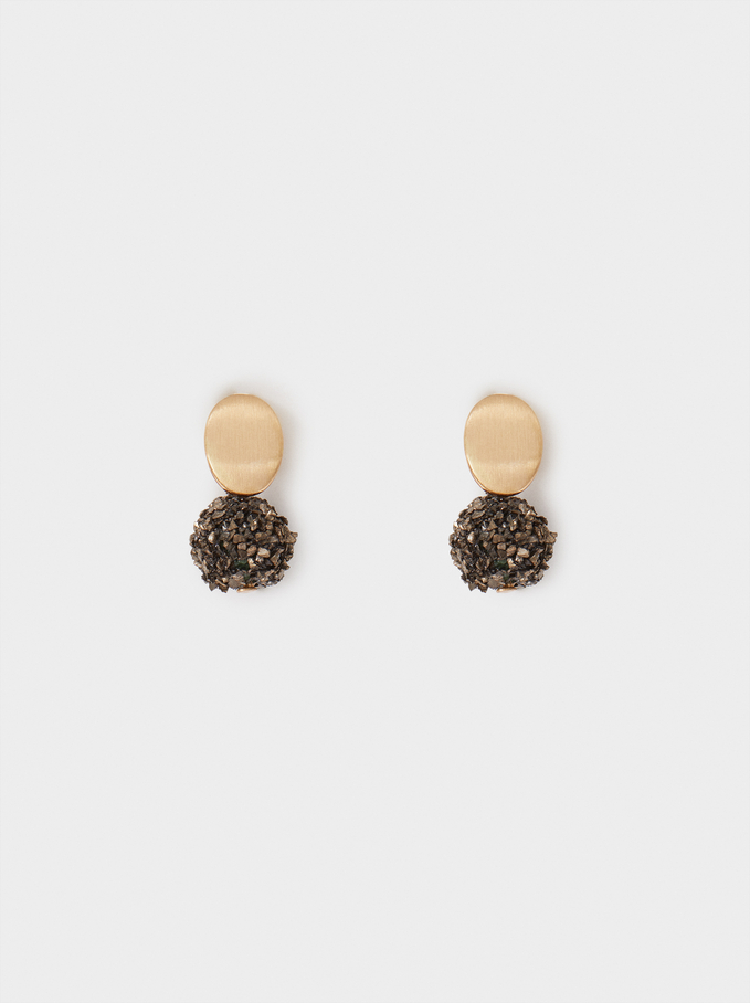 Small Earrings With Crystals, Brown, hi-res