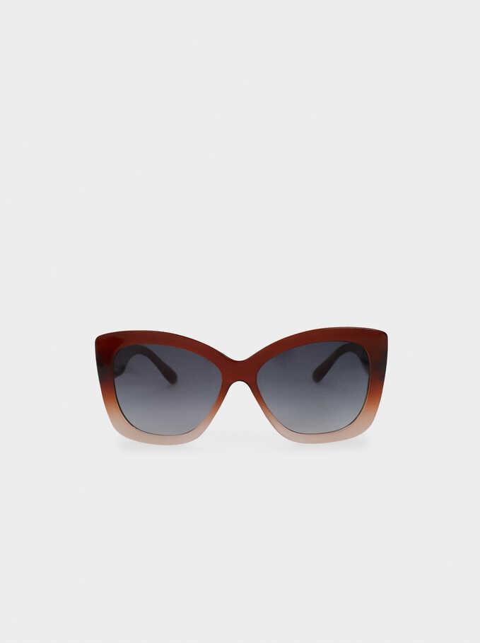 Resin Cat-Eye Sunglasses, Brown, hi-res