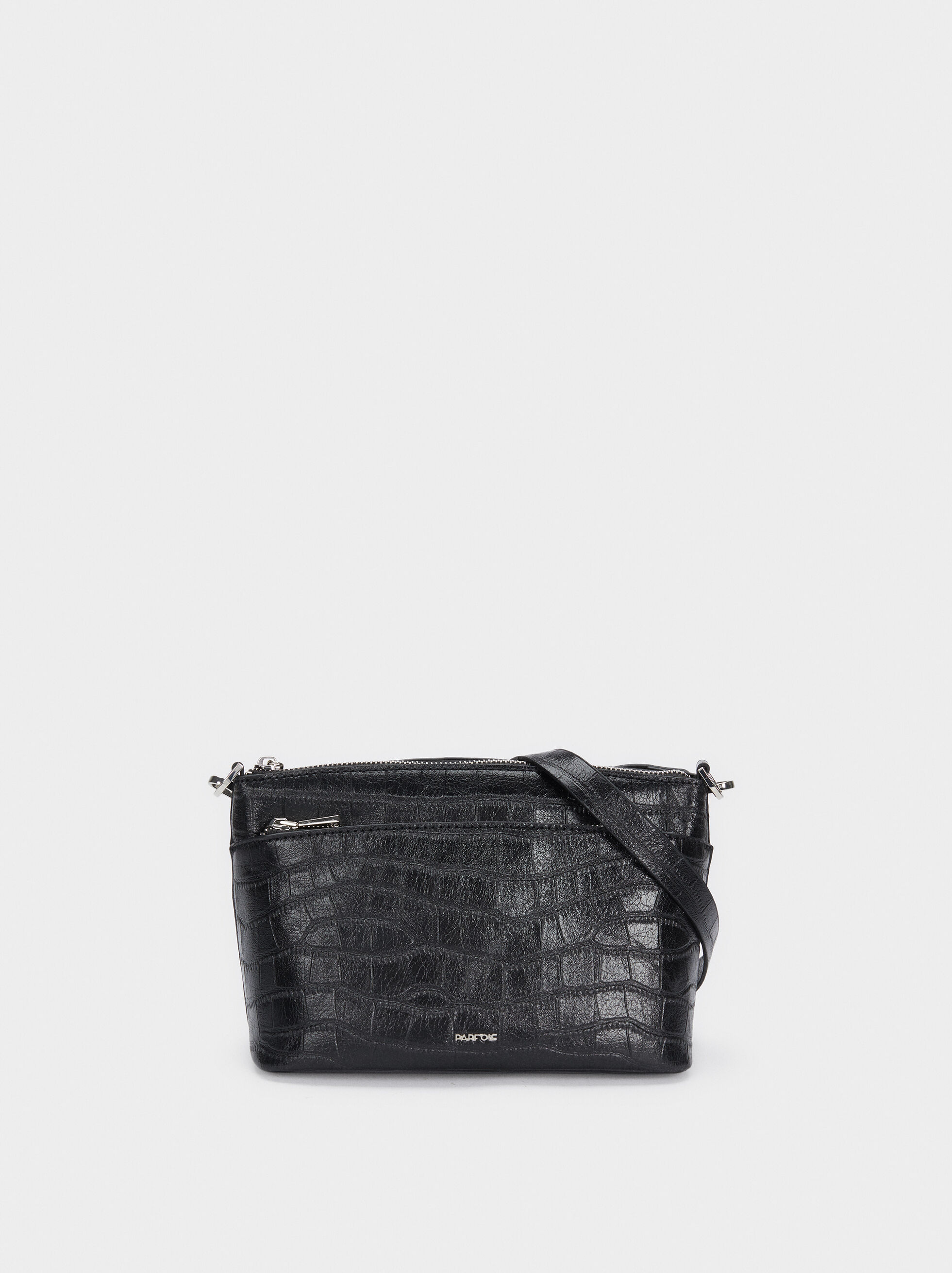 Crossbody Bag With Embossed Animal Print, Black, hi-res