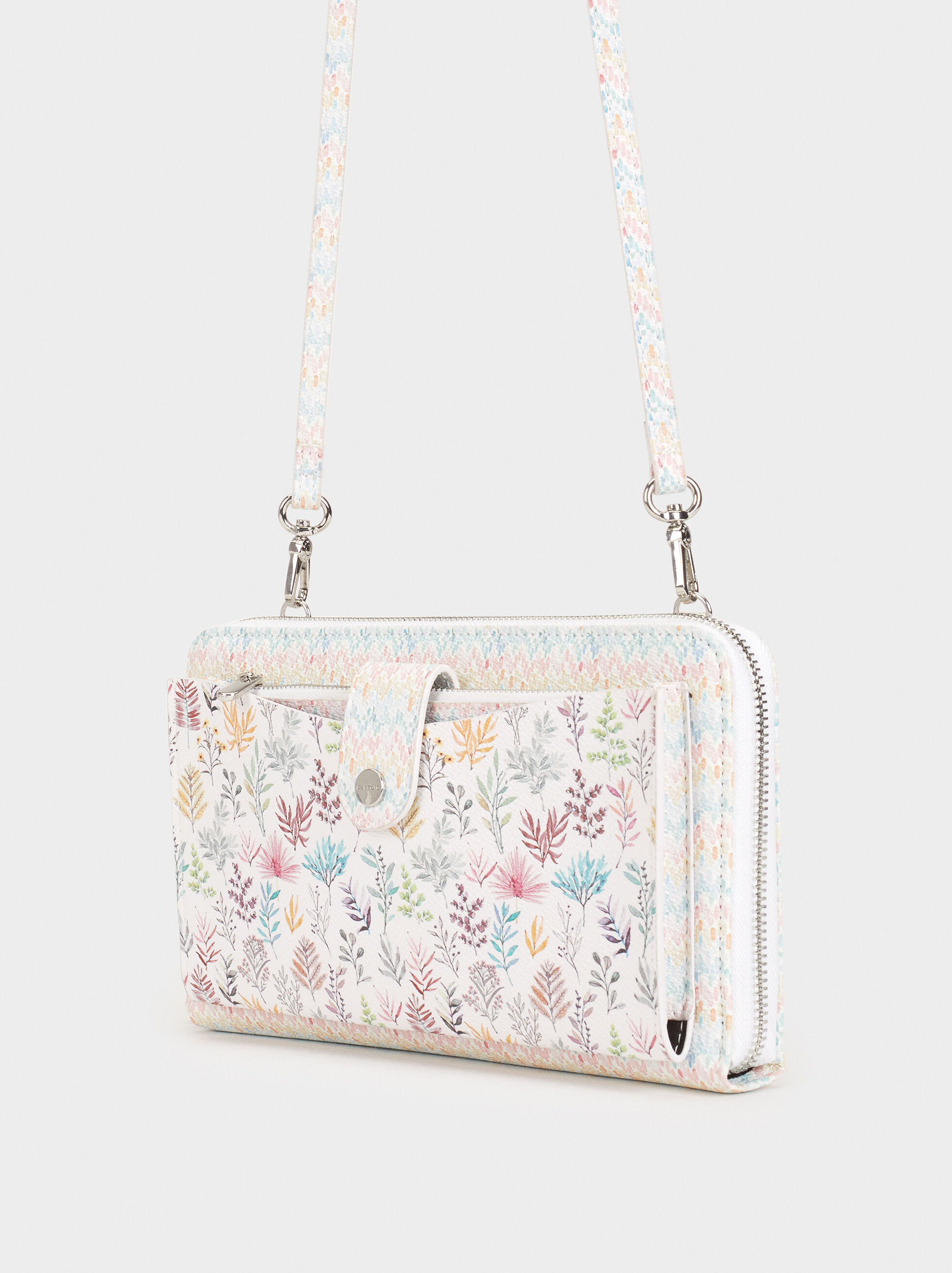 Floral Print Large Purse, Pink, hi-res