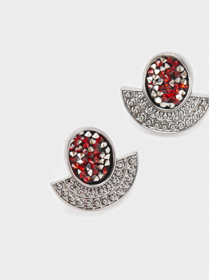Small Earrings With Multicolour Crystals, Bordeaux, hi-res