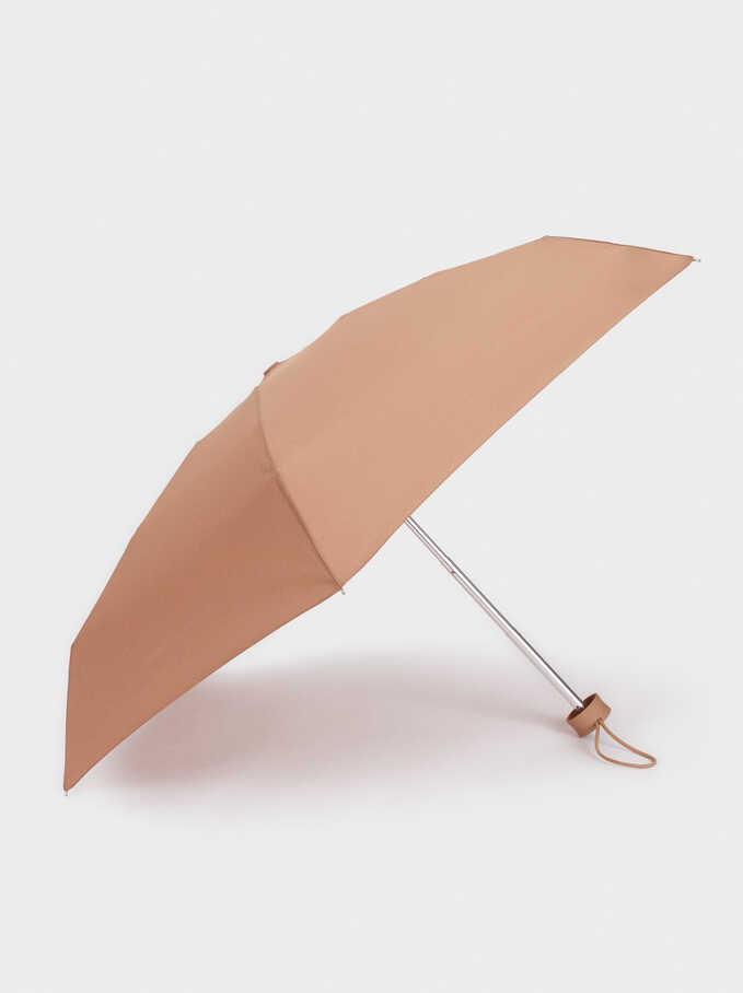 Small Folding Plain Umbrella, Beige, hi-res