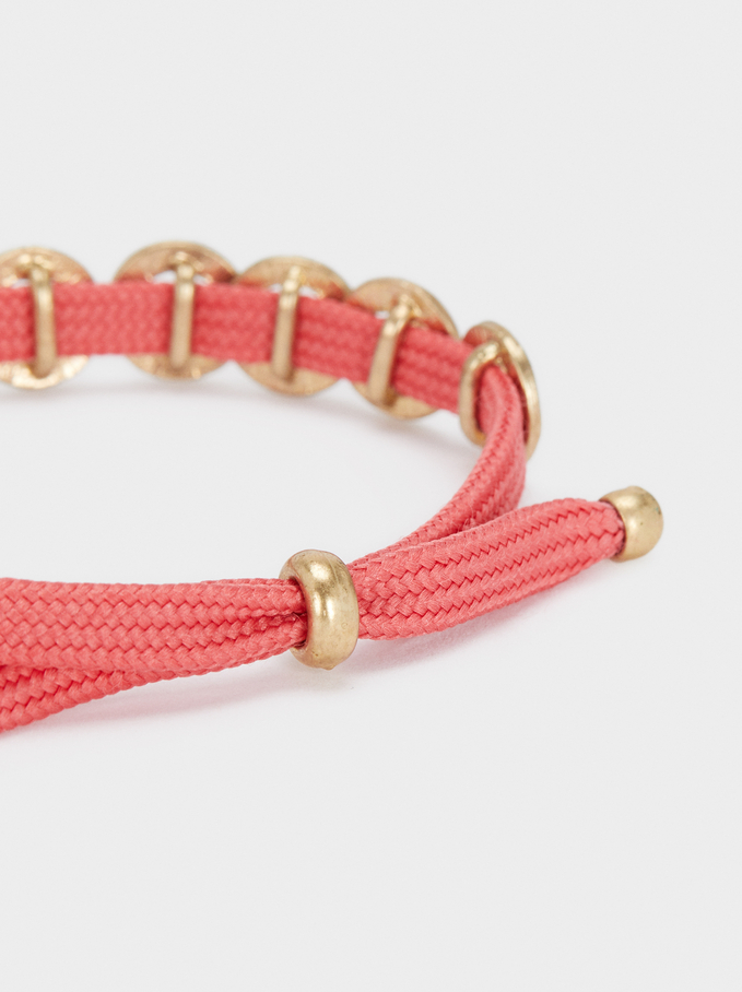 Adjustable Gold Bracelet, Pink, hi-res