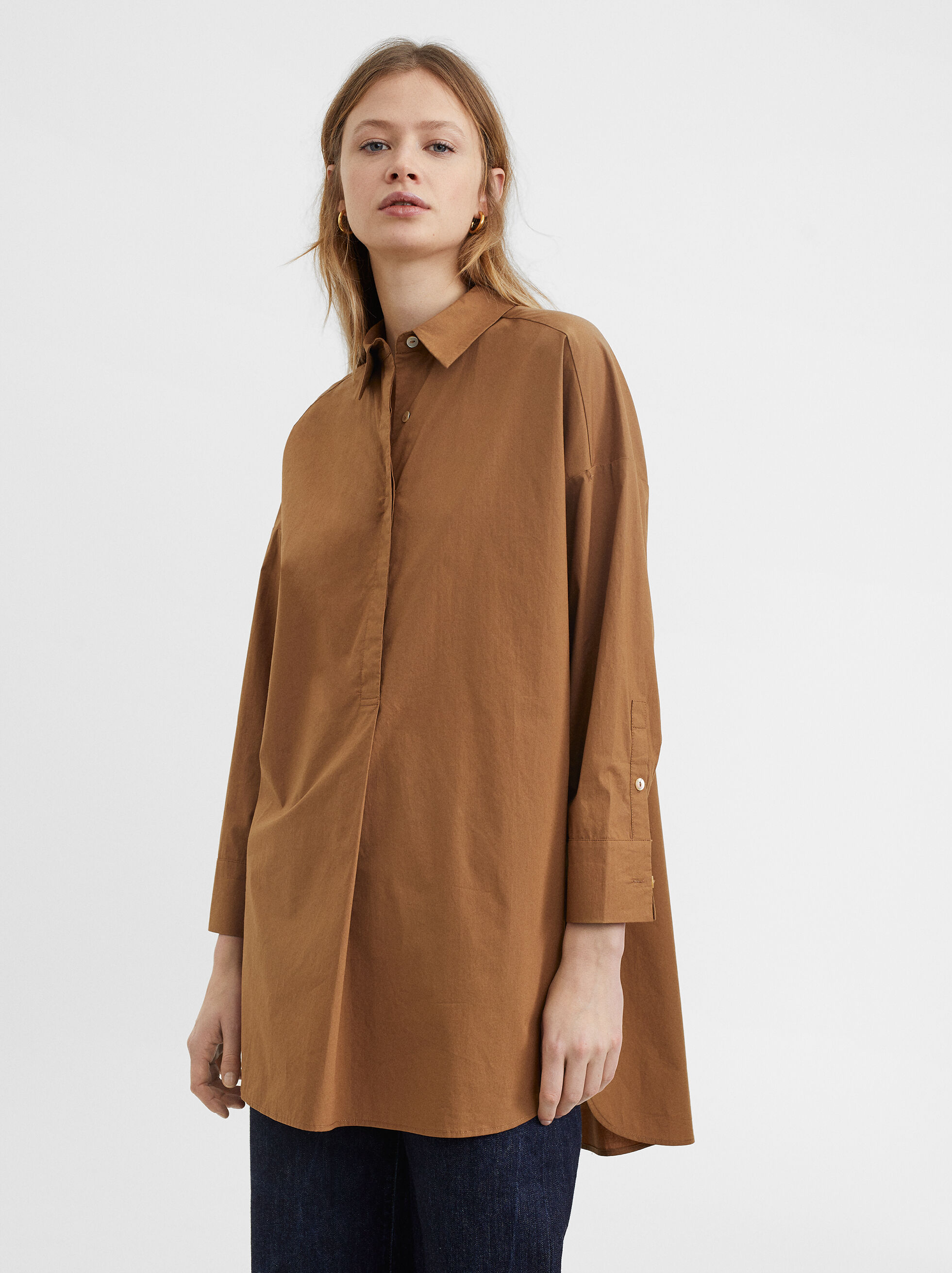 Shirt Dress With Button Details, Brown, hi-res