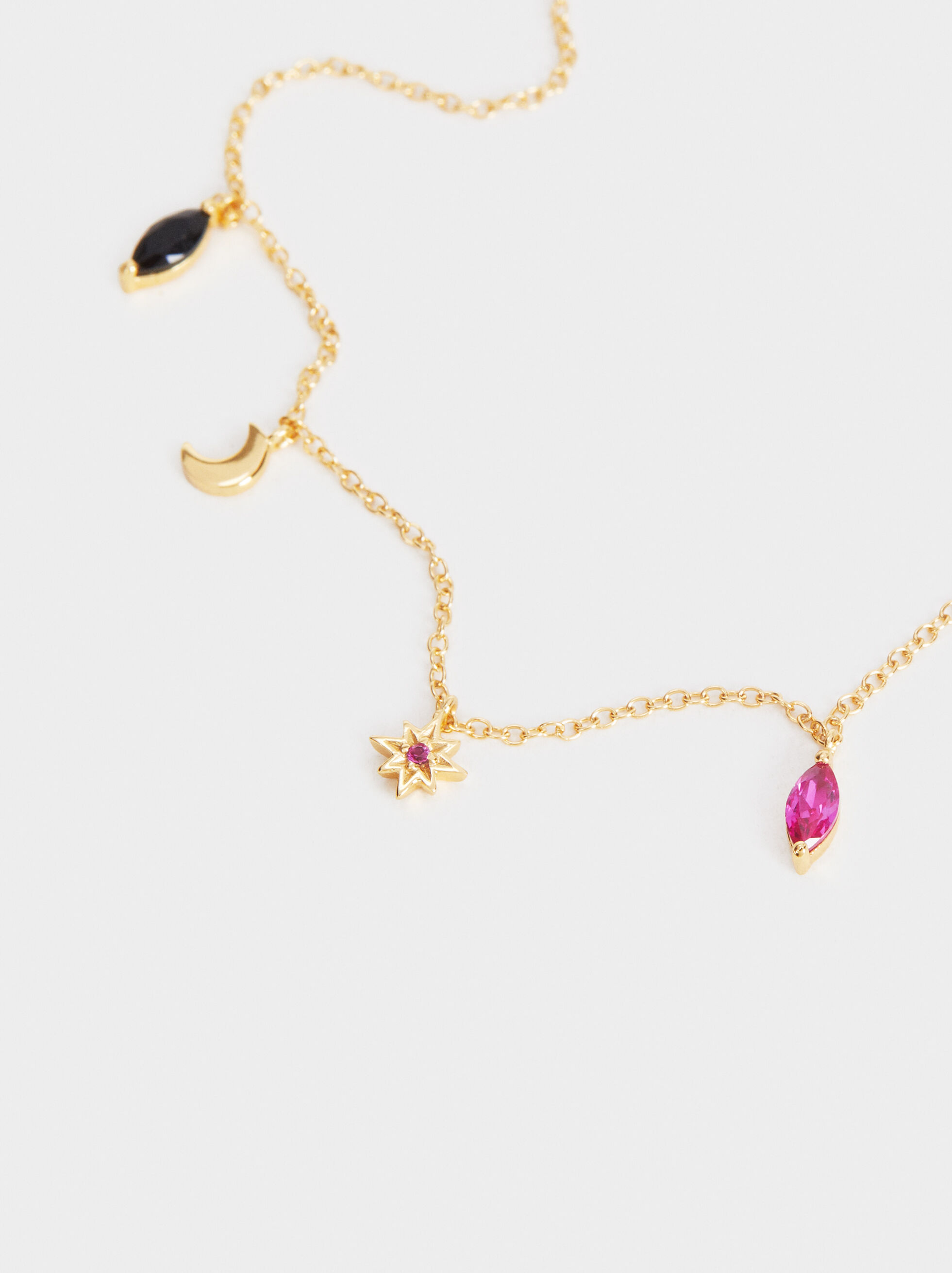 Short 925 Silver Necklace With Pendants, Multicolor, hi-res