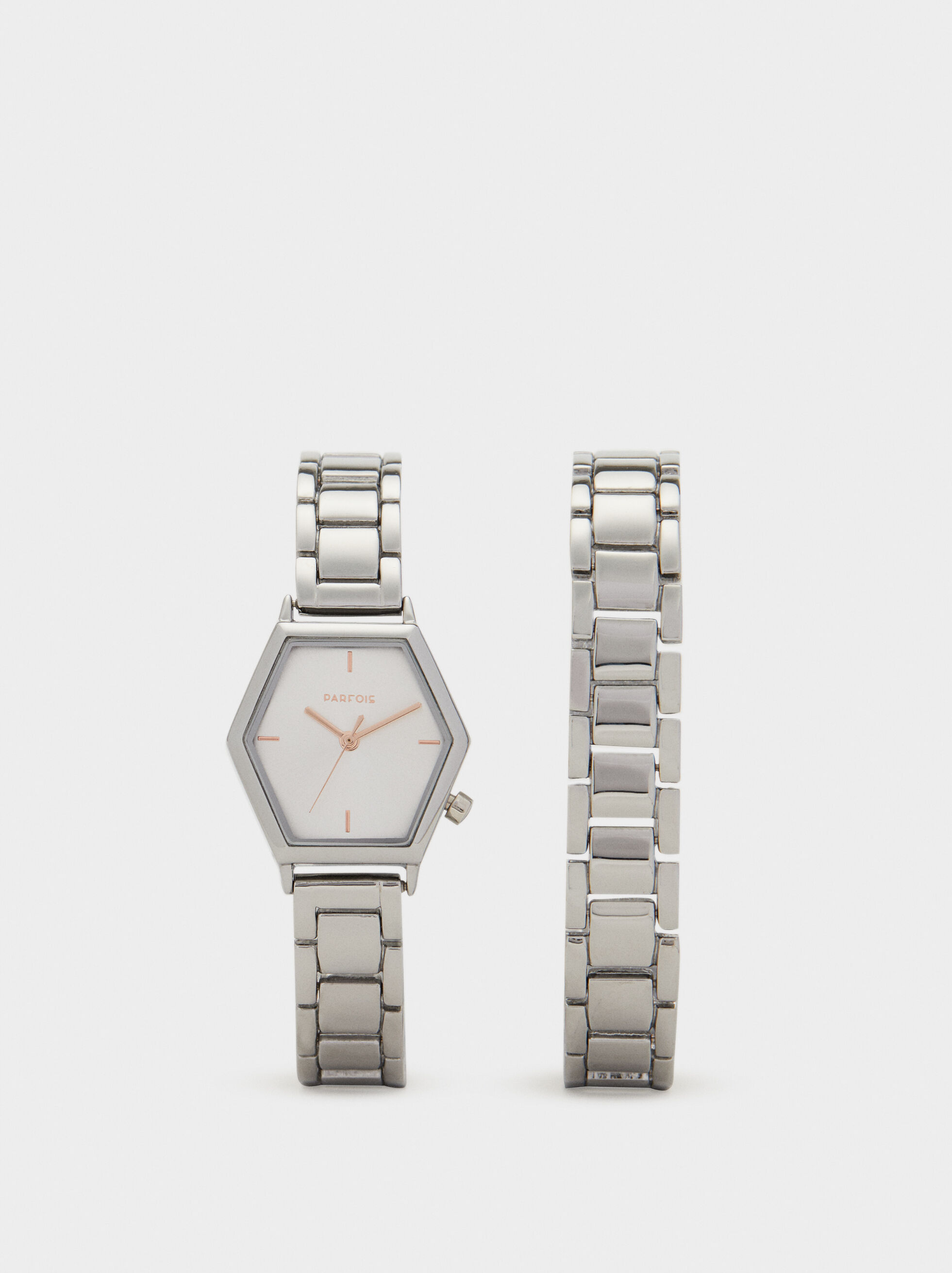 Watch With Geometric Face, Silver, hi-res