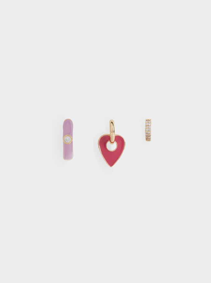 Ensemble De Petites Créoles Cœur, Multicolore, hi-res