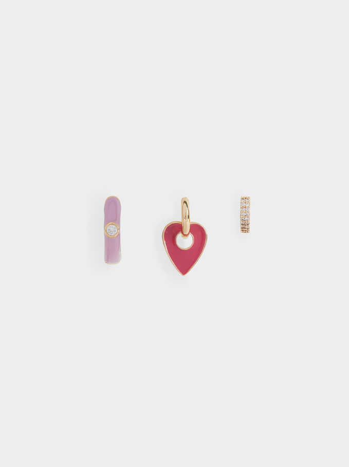Set Of Small Heart Hoops, Multicolor, hi-res
