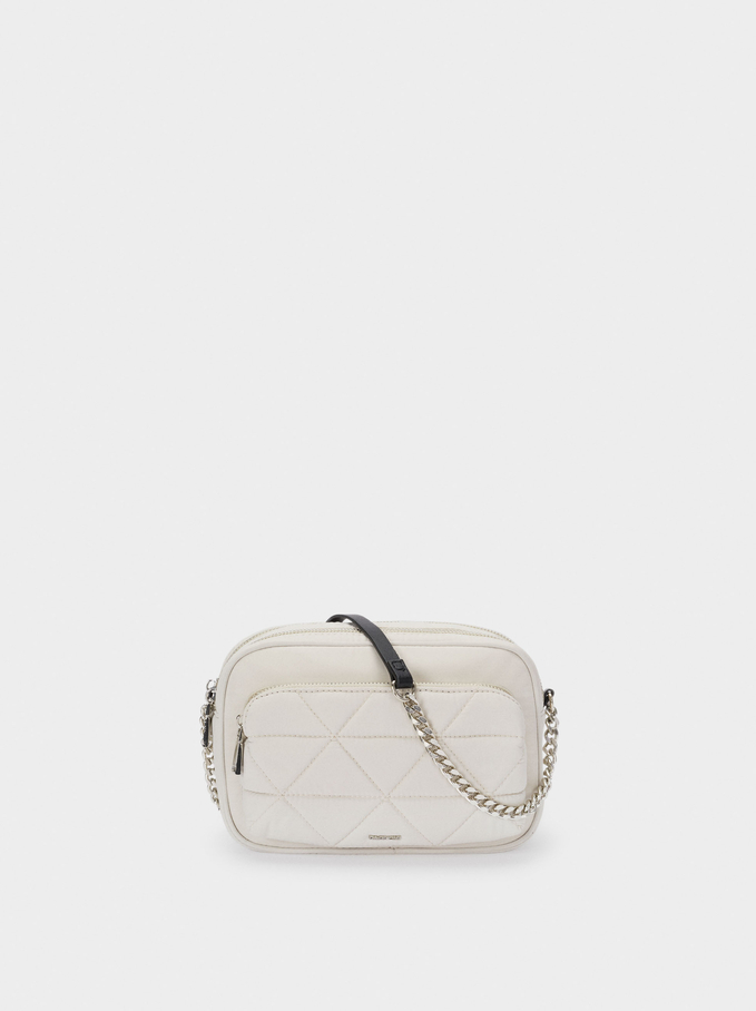 Quilted Nylon Crossbody Bag, White, hi-res