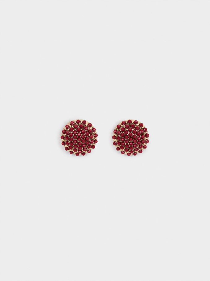 Short Earrings With Beads, Bordeaux, hi-res