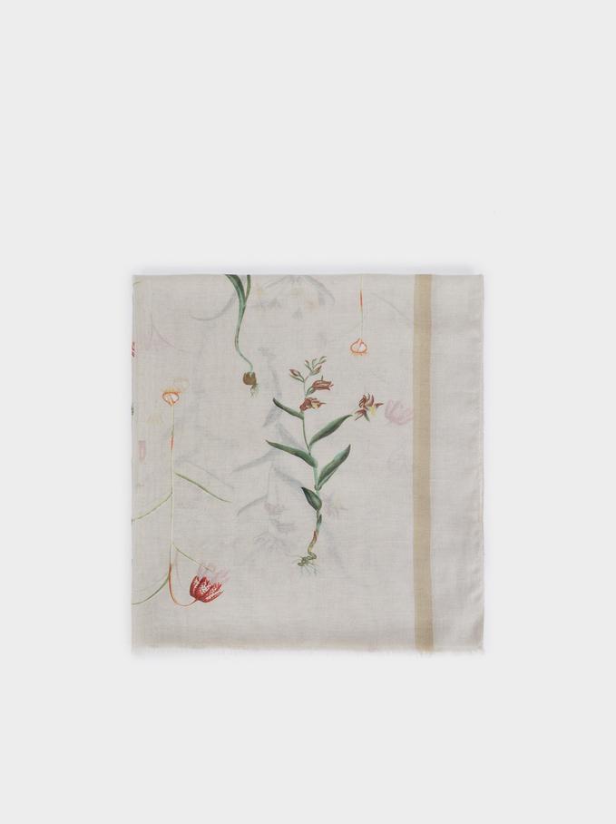 Floral Print Scarf, Grey, hi-res