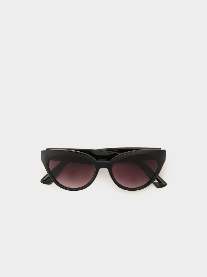 Cat-Eye Sunglasses, Black, hi-res