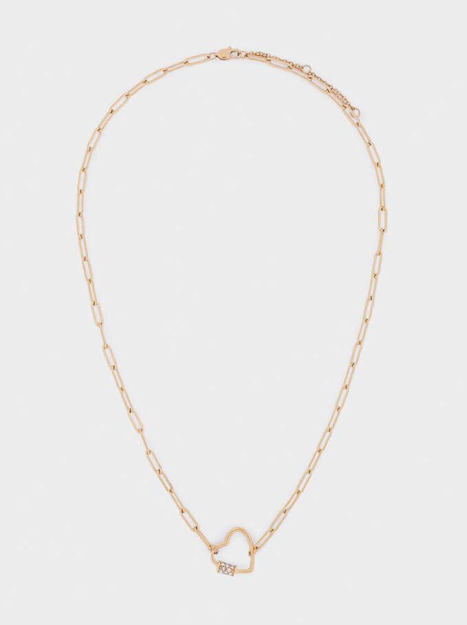 Collar Cadena Corto De Acero Corazón, Dorado, hi-res