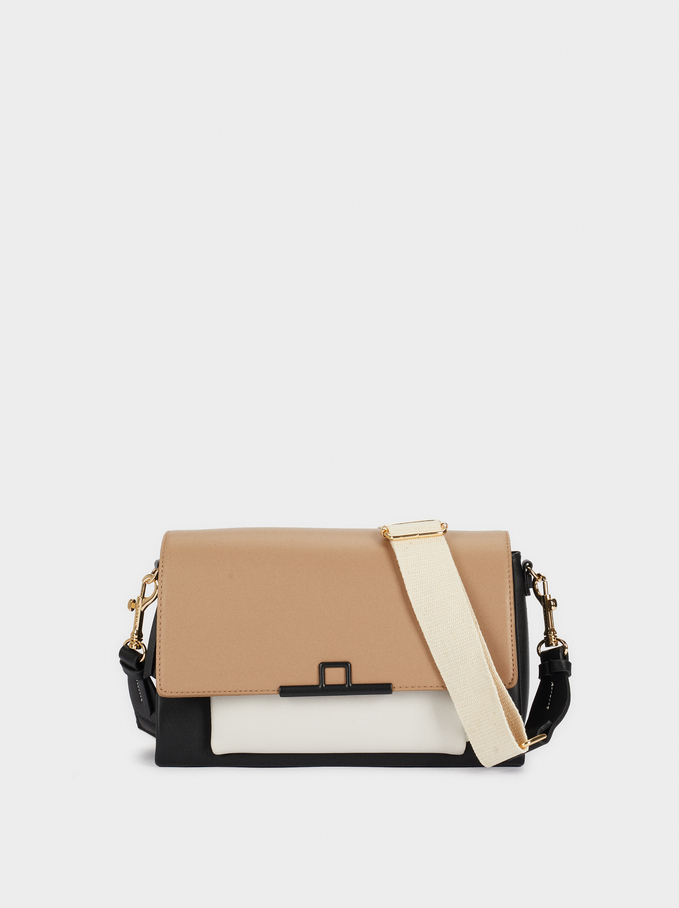 Colour-Block Crossbody Bag, Brown, hi-res