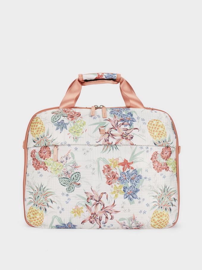 Printed Nylon Briefcase, Coral, hi-res