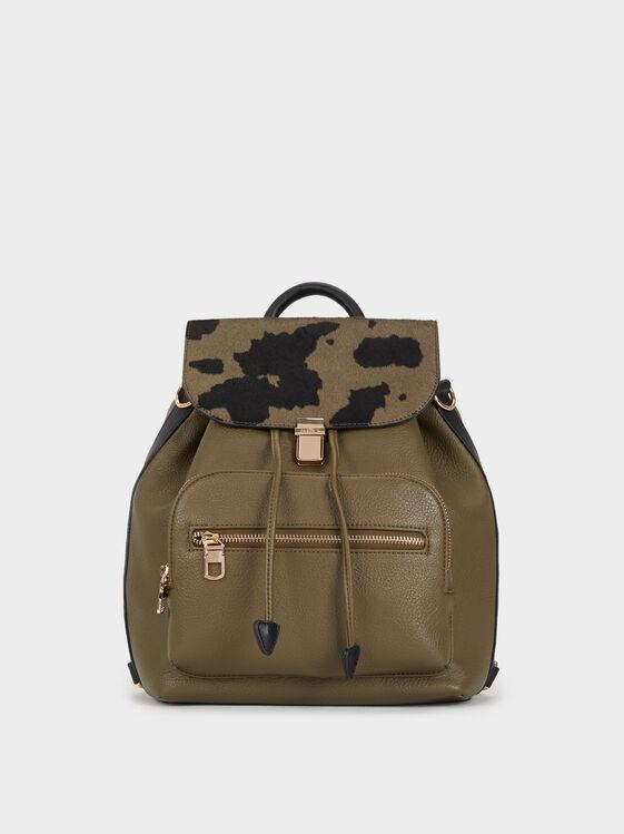 Animal Print Backpack, Khaki, hi-res