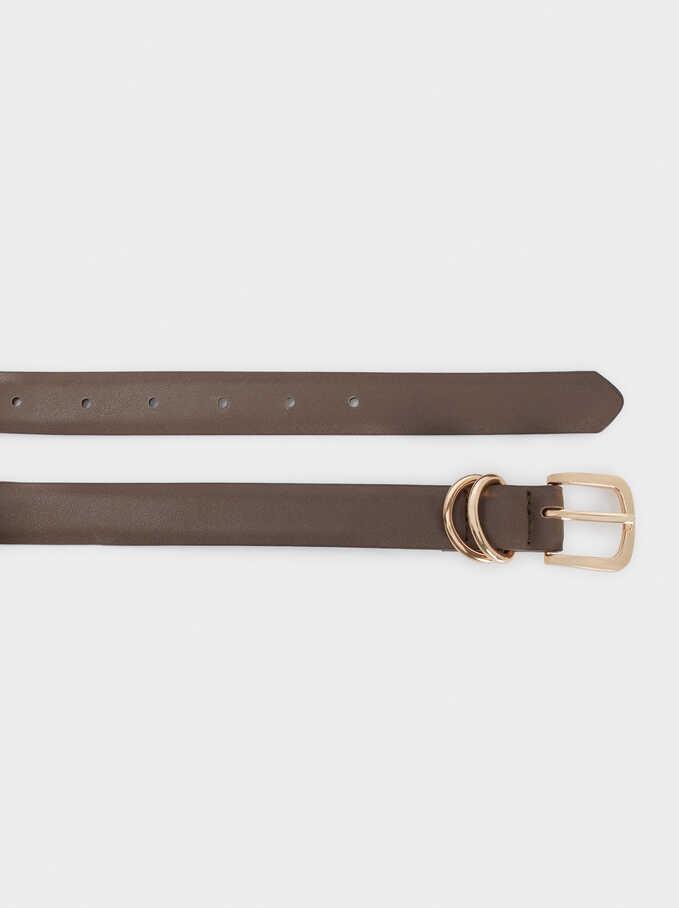 Belt With Gold Buckle, Brown, hi-res