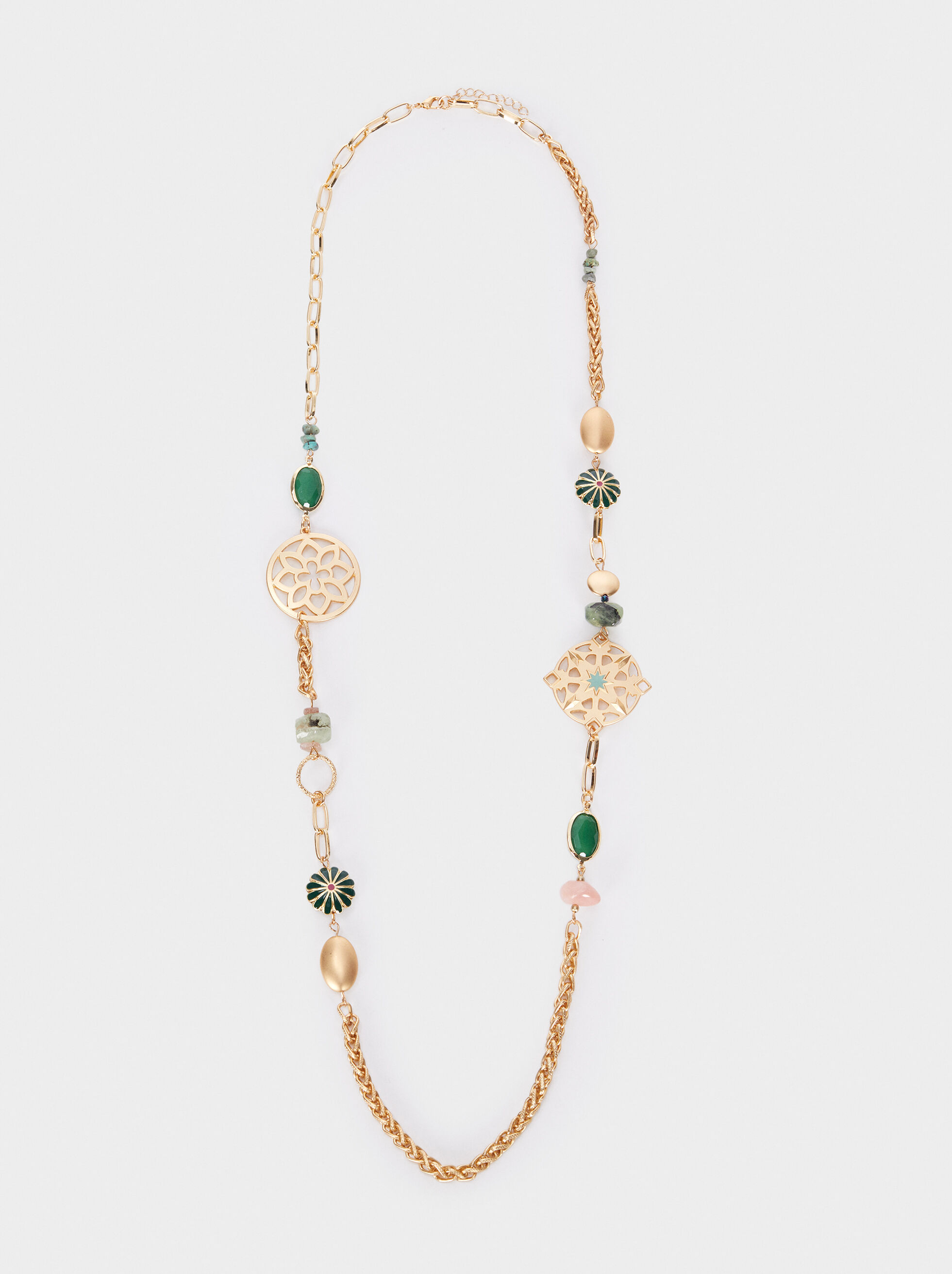 Long Gold Necklace With Stones And Beads, Multicolor, hi-res