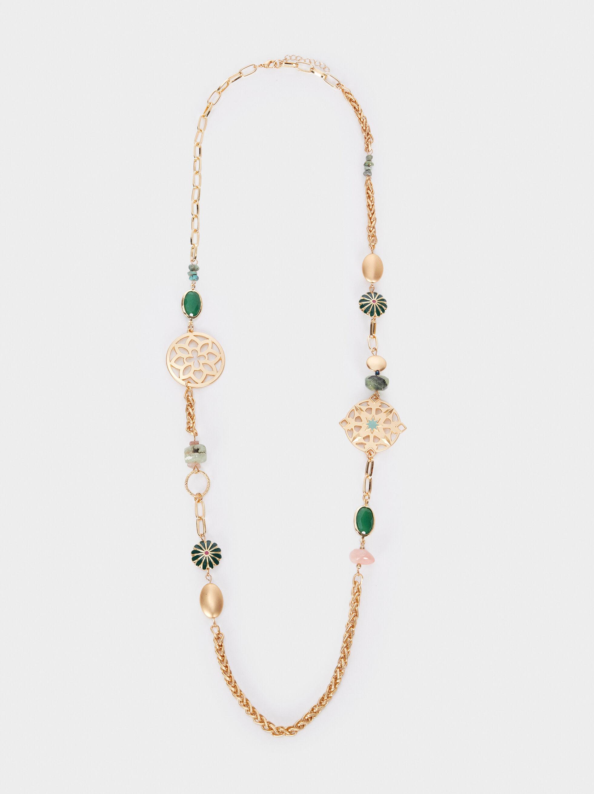 Collier Long Avec Pierres Et Perles Fantaisie Dorées, Multicolore, hi-res