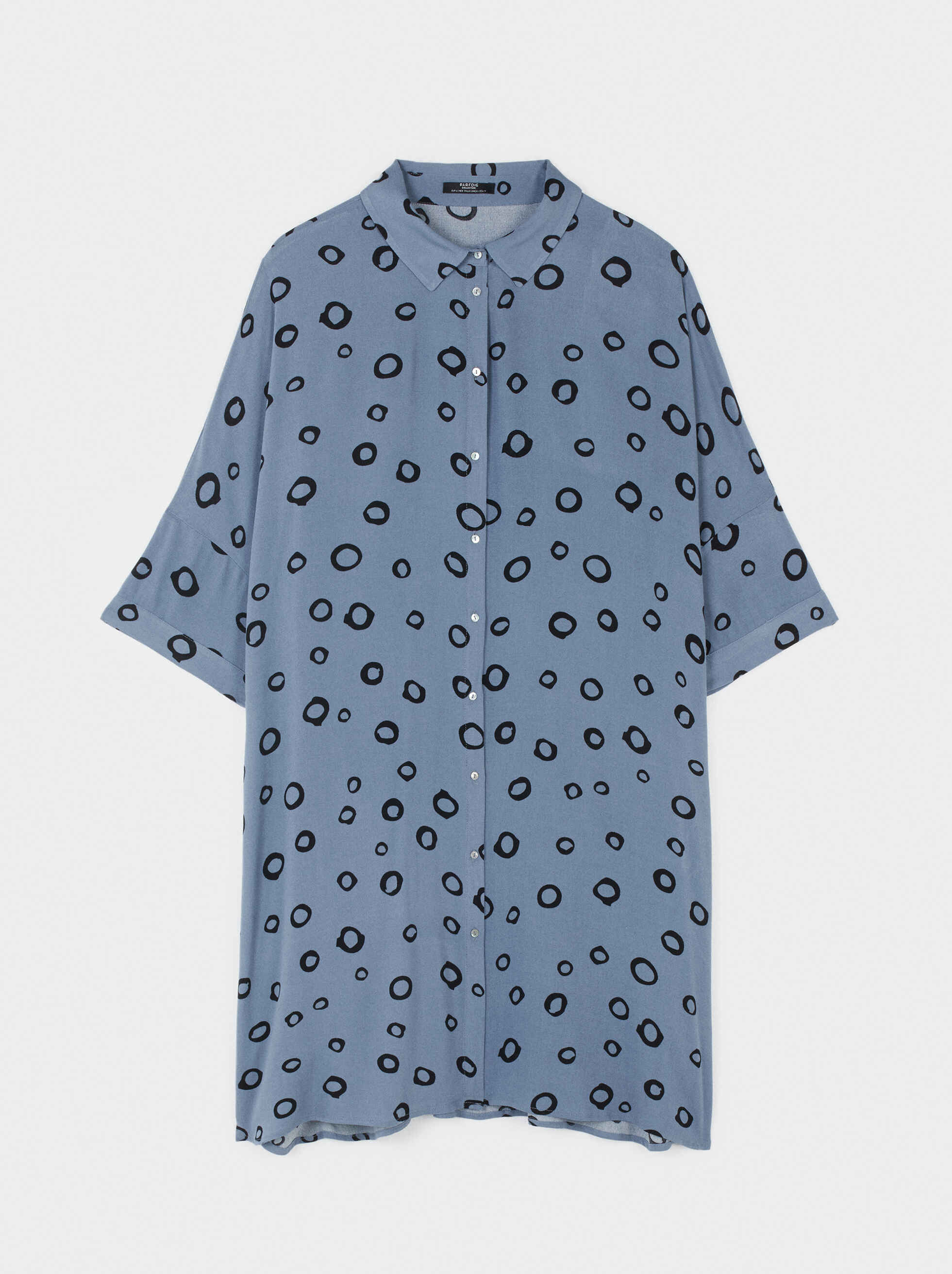 Shirt Dress With Circle Print, Blue, hi-res