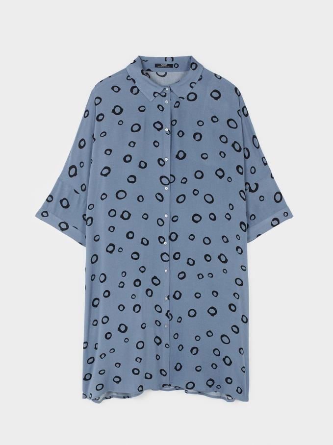 Robe Chemisier Imprimé Cercles, Bleu, hi-res