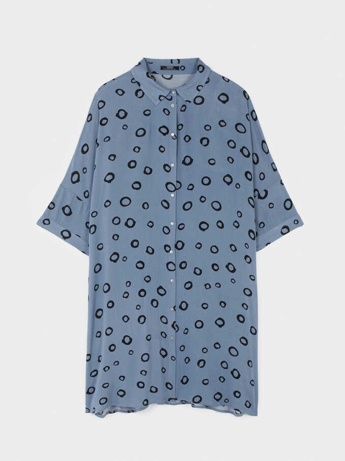 Shirt Dress With Circle Print, Blue, hi-res