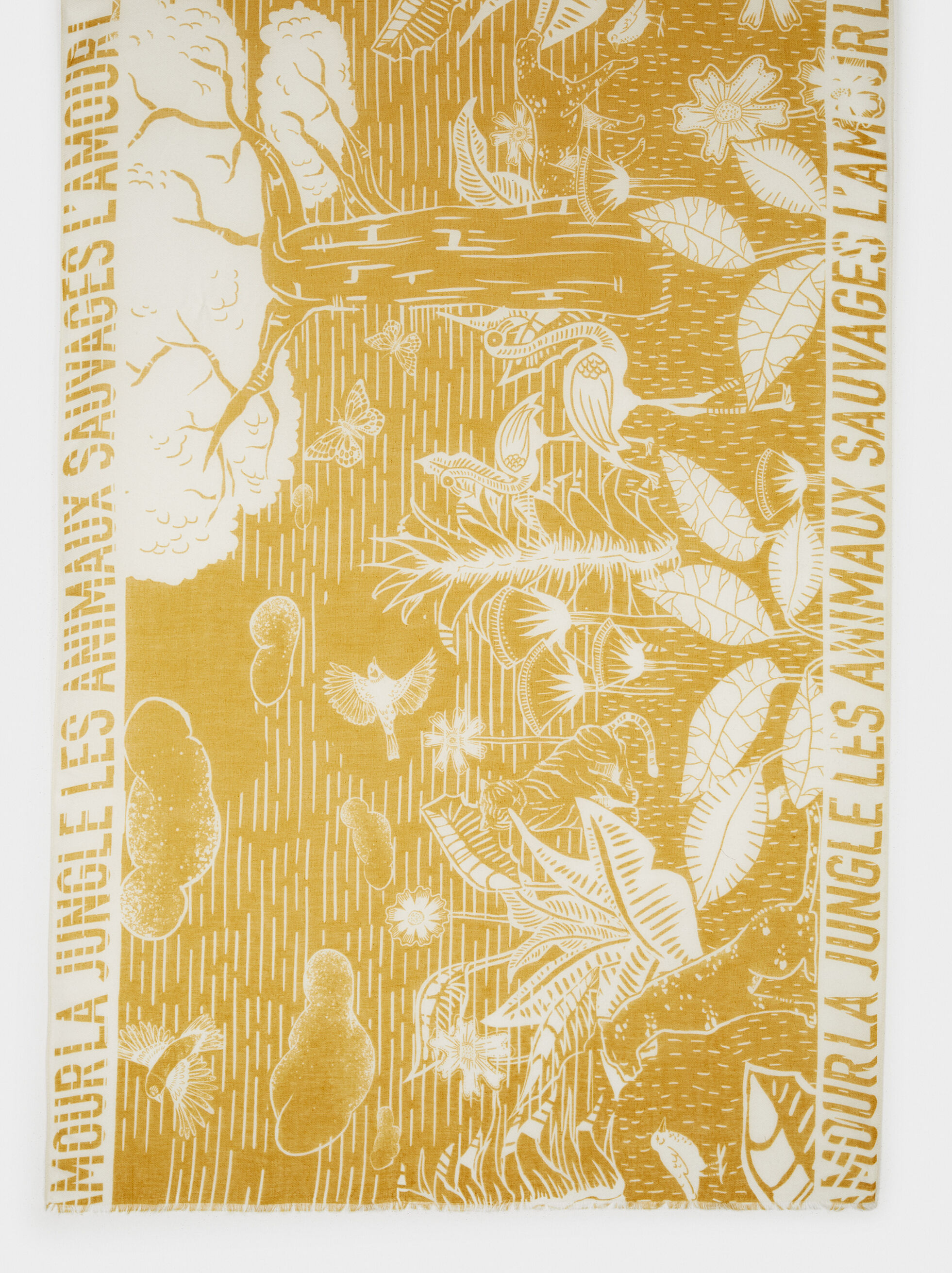 Printed Scarf, Yellow, hi-res