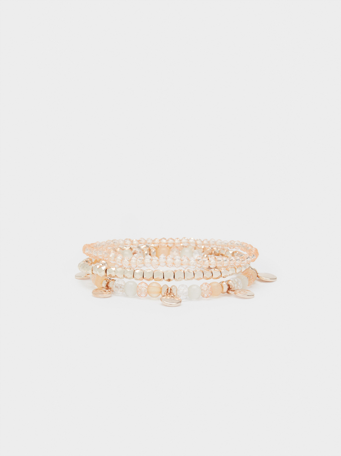 Bracelet Élastique Rose Doré, Orange, hi-res