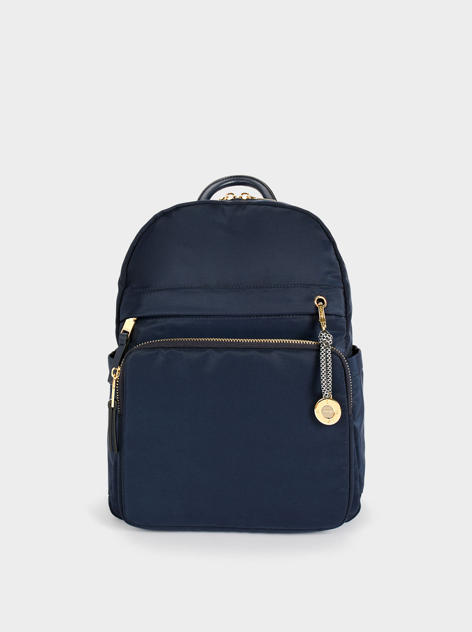 Nylon Backpack With Outside Pockets, Navy, hi-res