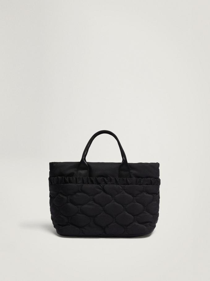 Nylon Tote Bag With Pleats, Black, hi-res