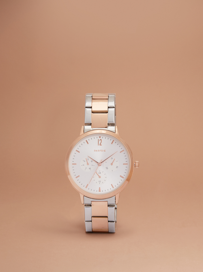 Watch With Matching Necklace, Orange, hi-res