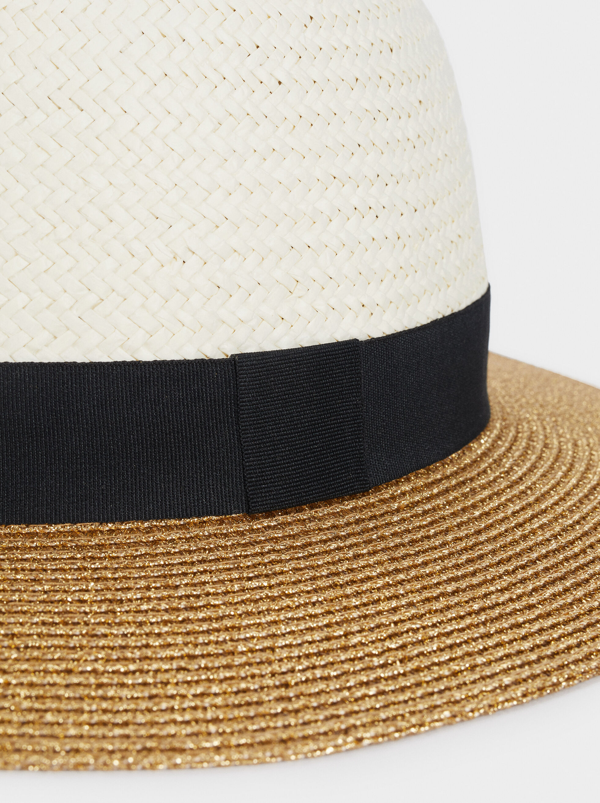 Textured Straw Hat With Contrast Band, Beige, hi-res
