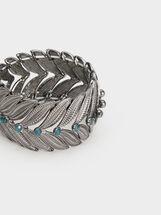 Botanical Party Elasticated Bracelet, Grey, hi-res