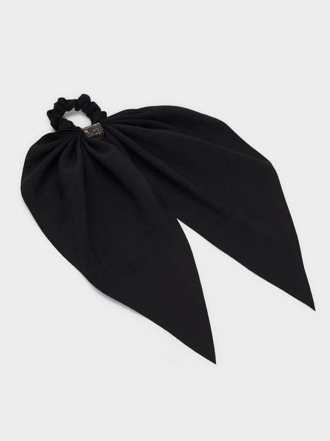 Hair Elastic With Bow And Rhinestones, Black, hi-res