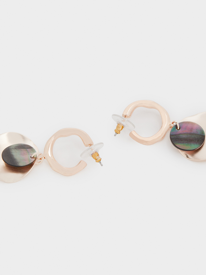 Medium Rose Gold Shell Earrings, Orange, hi-res