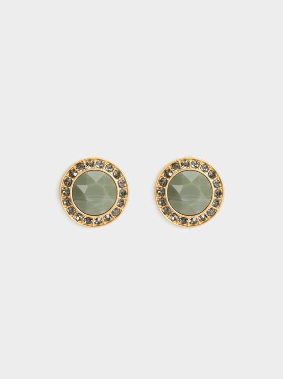 Stone Story Short Earrings With Rhinestones, , hi-res