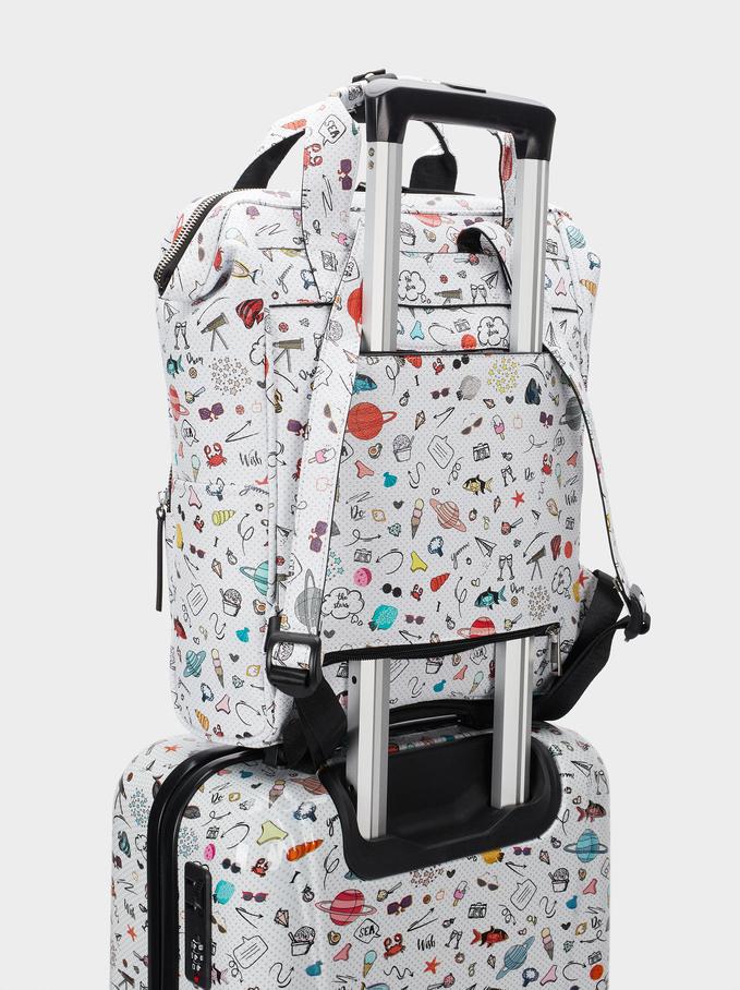 """Printed Backpack Backpack For 13"""" Laptop, Black, hi-res"""