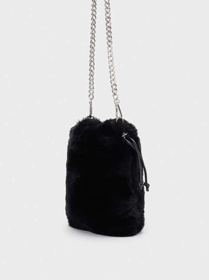 Faux Fur Mobile Phone Case With Crossbody Strap, Black, hi-res