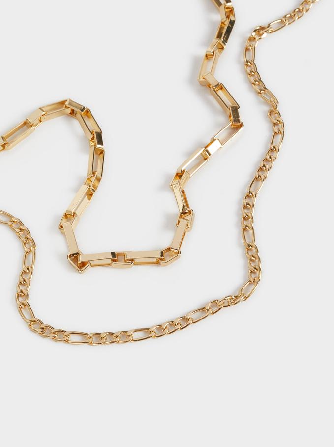Conjunto De Colares Combinados Dourados, Dourado, hi-res
