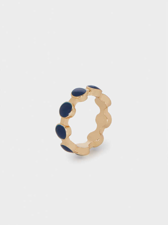 Enamel Ring, Navy, hi-res