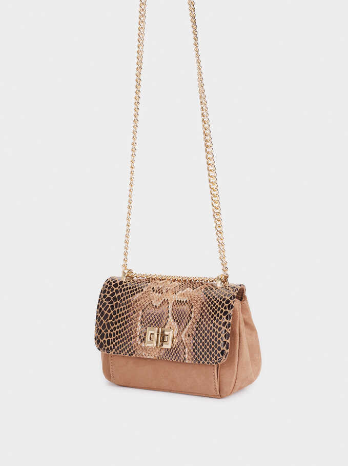 Animal Embossed Crossbody Bag, Beige, hi-res
