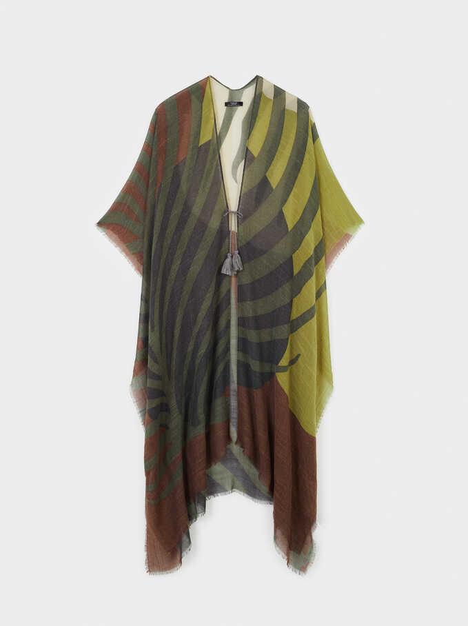 Leaf Print Kimono, Multicolor, hi-res