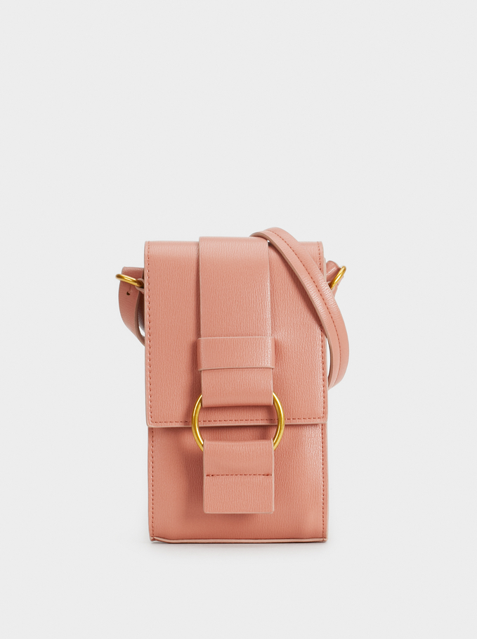 Crossbody Bag With Metal Detail, Pink, hi-res