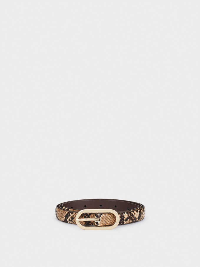 Narrow Belt With Silver-Plated Buckle, Brown, hi-res