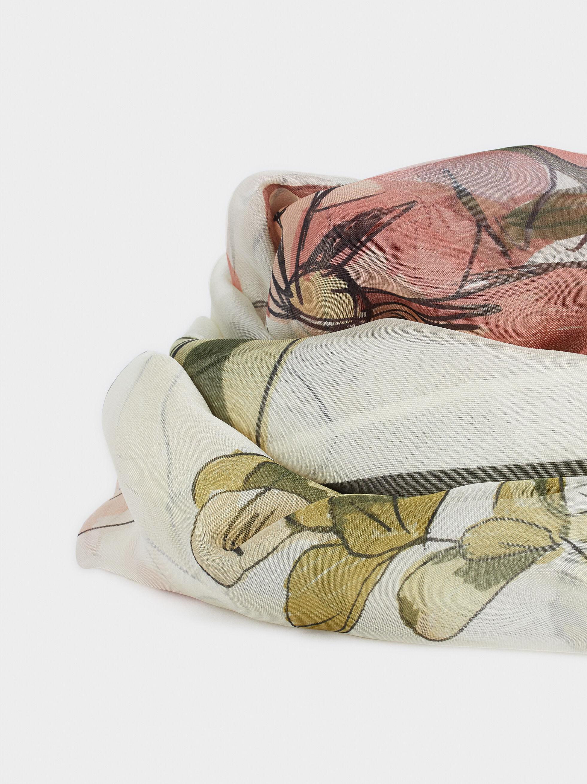 Floral Print Handkerchief, Pink, hi-res