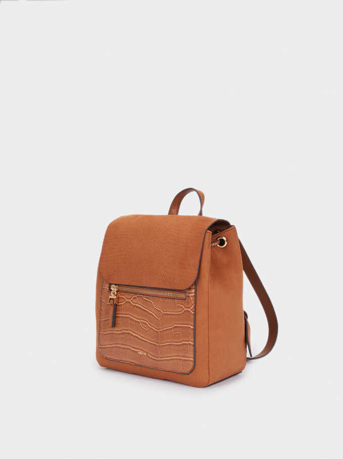 Fake Suede And Animal Skin Backpack, Camel, hi-res