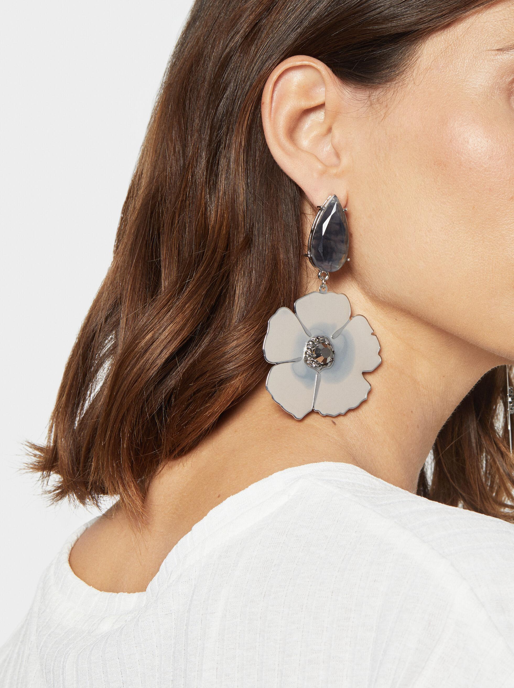 Party Long Flower Earrings, Multicolor, hi-res