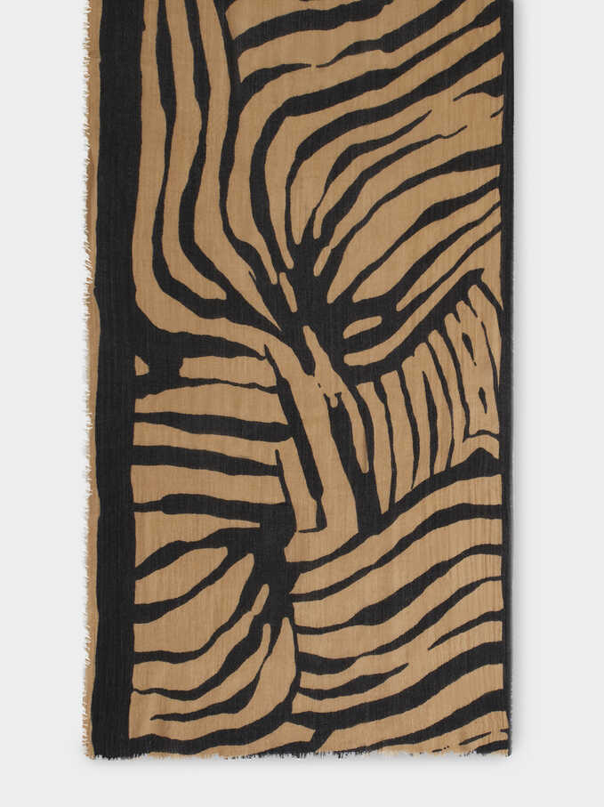 Printed Maxi Scarf, Brown, hi-res
