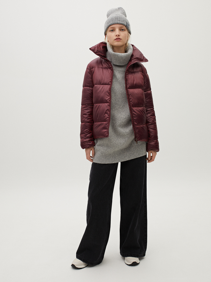 High Neck Puffer Coat , Bordeaux, hi-res
