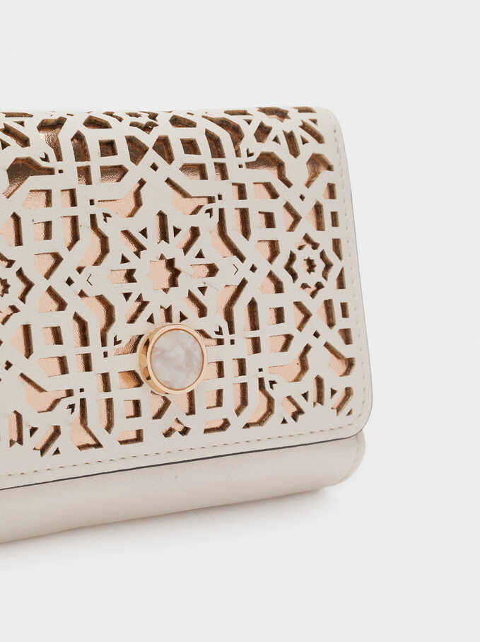 Compact Purse With Openwork Detailing, Beige, hi-res